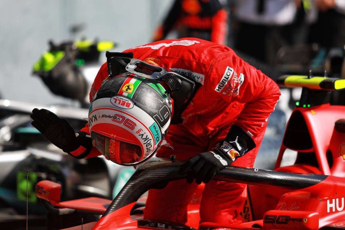 Race winner Charles Leclerc (MON) Ferrari SF90 celebrates in parc ferme.