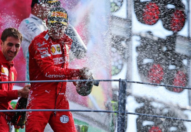 Race winner Charles Leclerc (MON) Ferrari celebrates on the podium.