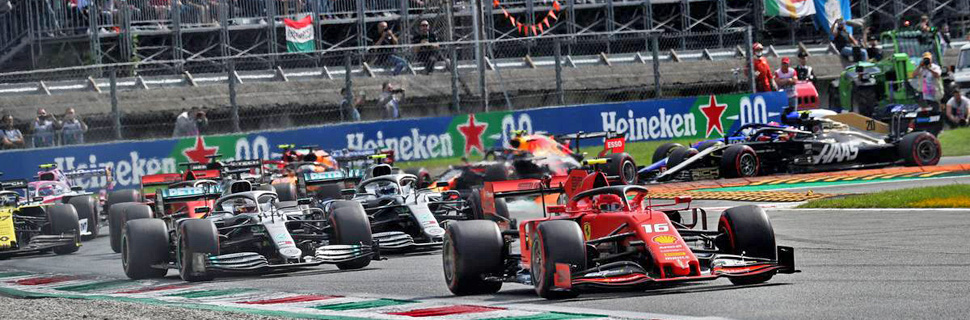 Charles Leclerc (MON) Ferrari SF90 leads at the start of the race.