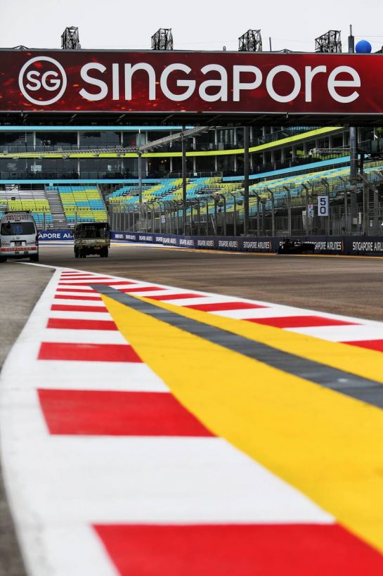 Circuit atmosphere - pit lane exit.