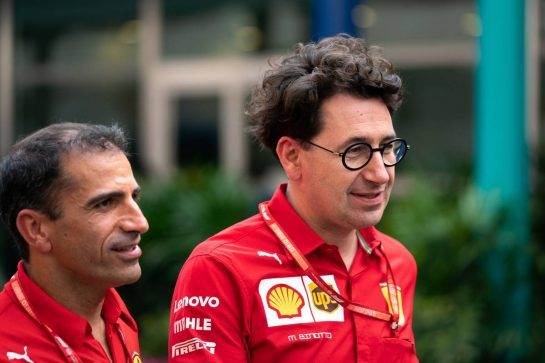 Mattia Binotto (ITA) Ferrari Team Principal with Marc Gene (ESP) Ferrari Test Driver.