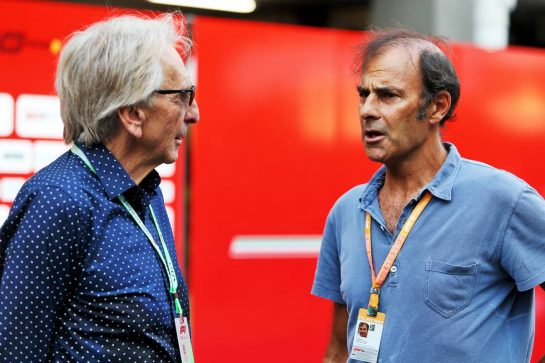 (L to R): Derek Bell (GBR) with Emanuele Pirro (ITA).