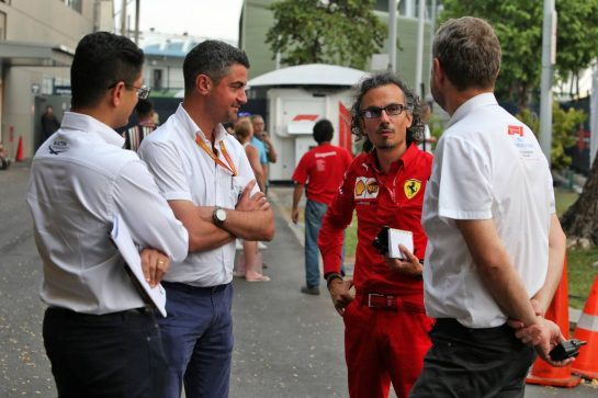 Michael Masi (AUS) FIA Race Director with Laurent Mekies (FRA) Ferrari Sporting Director (Centre) and Steve Nielsen (GBR) FOM Sporting Director (Right).