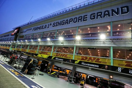 Renault F1 Team pit garages.