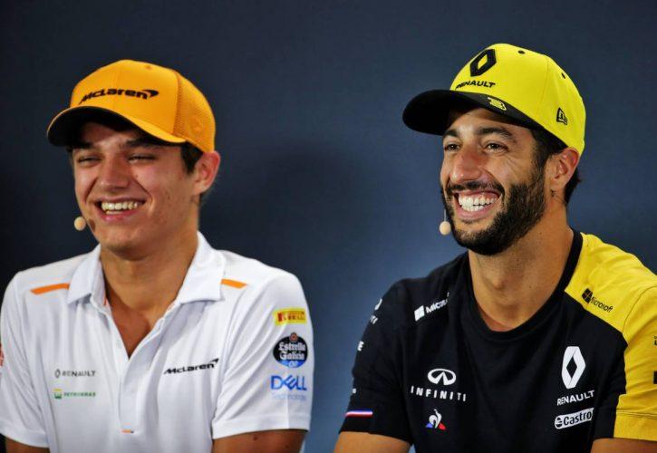 Lando Norris (GBR) McLaren and Daniel Ricciardo (AUS) Renault F1 Team in the FIA Press Conference.