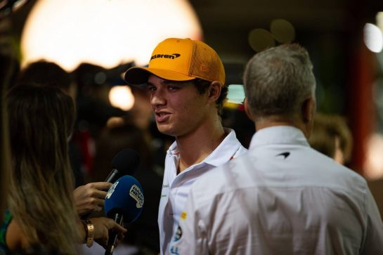 Lando Norris (GBR) McLaren with the media.