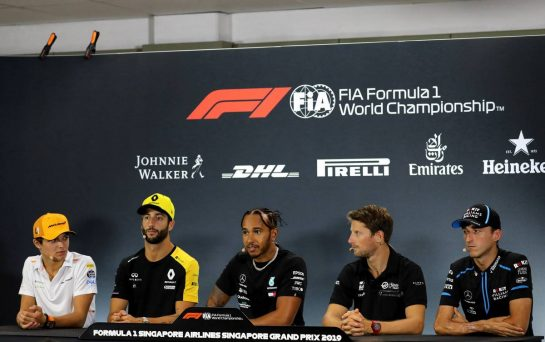 The FIA Press Conference (L to R): Lando Norris (GBR) McLaren; Daniel Ricciardo (AUS) Renault F1 Team; Lewis Hamilton (GBR) Mercedes AMG F1; Romain Grosjean (FRA) Haas F1 Team; Robert Kubica (POL) Williams Racing.
