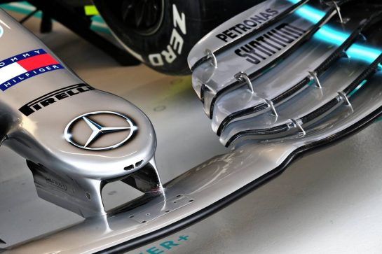 Mercedes AMG F1 W10 front wing. 20.09.2019. Formula 1 World Championship, Rd 15, Singapore Grand Prix, Marina Bay Street Circuit, Singapore, Practice Day. - www.xpbimages.com, EMail: requests@xpbimages.com - copy of publication required for printed pictures. Every used picture is fee-liable. © Copyright: Batchelor / XPB Images