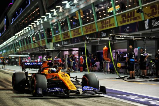 Lando Norris (GBR) McLaren MCL34. 20.09.2019. Formula 1 World Championship, Rd 15, Singapore Grand Prix, Marina Bay Street Circuit, Singapore, Practice Day. - www.xpbimages.com, EMail: requests@xpbimages.com - copy of publication required for printed pictures. Every used picture is fee-liable. © Copyright: Batchelor / XPB Images