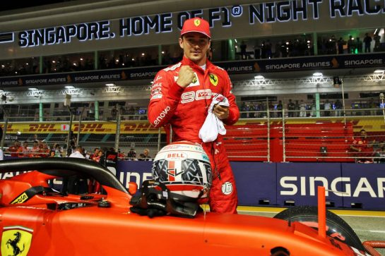 Charles Leclerc (MON) Ferrari SF90 celebrates his pole position in qualifying parc ferme. 21.09.2019. Formula 1 World Championship, Rd 15, Singapore Grand Prix, Marina Bay Street Circuit, Singapore, Qualifying Day. - www.xpbimages.com, EMail: requests@xpbimages.com - copy of publication required for printed pictures. Every used picture is fee-liable. © Copyright: Batchelor / XPB Images