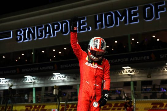 Charles Leclerc (MON) Ferrari celebrates his pole position in qualifying parc ferme. 21.09.2019. Formula 1 World Championship, Rd 15, Singapore Grand Prix, Marina Bay Street Circuit, Singapore, Qualifying Day. - www.xpbimages.com, EMail: requests@xpbimages.com - copy of publication required for printed pictures. Every used picture is fee-liable. © Copyright: Batchelor / XPB Images