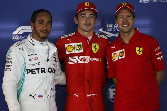 Pole position for Charles Leclerc (MON) Ferrari SF90, 2nd for Lewis Hamilton (GBR) Mercedes AMG F1 W10 and 3rd Sebastian Vettel (GER) Ferrari SF90.21.09.2019. Formula 1 World Championship, Rd 15, Singapore Grand Prix, Marina Bay Street Circuit, Singapore, Qualifying Day.- www.xpbimages.com, EMail: requests@xpbimages.com - copy of publication required for printed pictures. Every used picture is fee-liable. © Copyright: Batchelor / XPB Images