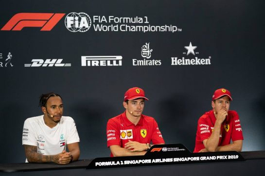 The post qualifying FIA Press Conference (L to R): Lewis Hamilton (GBR) Mercedes AMG F1, second; Charles Leclerc (MON) Ferrari, pole position; Sebastian Vettel (GER) Ferrari, third. 21.09.2019. Formula 1 World Championship, Rd 15, Singapore Grand Prix, Marina Bay Street Circuit, Singapore, Qualifying Day.  - www.xpbimages.com, EMail: requests@xpbimages.com - copy of publication required for printed pictures. Every used picture is fee-liable. © Copyright: Dungan / XPB Images