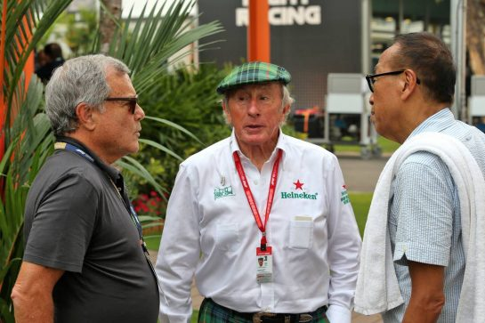 (L to R): Sir Martin Sorrell (GBR) with Jackie Stewart (GBR) and Colin Syn (SIN) Singapore GP Promotor. 22.09.2019. Formula 1 World Championship, Rd 15, Singapore Grand Prix, Marina Bay Street Circuit, Singapore, Race Day. - www.xpbimages.com, EMail: requests@xpbimages.com - copy of publication required for printed pictures. Every used picture is fee-liable. © Copyright: Batchelor / XPB Images