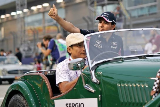 Sergio Perez (MEX) Racing Point F1 Team on the drivers parade. 22.09.2019. Formula 1 World Championship, Rd 15, Singapore Grand Prix, Marina Bay Street Circuit, Singapore, Race Day.  - www.xpbimages.com, EMail: requests@xpbimages.com - copy of publication required for printed pictures. Every used picture is fee-liable. © Copyright: Dungan / XPB Images