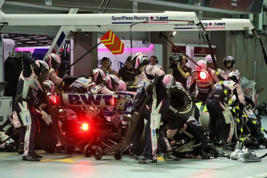 Lance Stroll (CDN) Racing Point F1 Team RP19 makes a pit stop. 22.09.2019. Formula 1 World Championship, Rd 15, Singapore Grand Prix, Marina Bay Street Circuit, Singapore, Race Day. - www.xpbimages.com, EMail: requests@xpbimages.com - copy of publication required for printed pictures. Every used picture is fee-liable. © Copyright: Batchelor / XPB Images