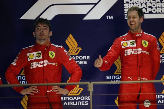 Charles Leclerc (MON) Ferrari SF90 and Sebastian Vettel (GER) Ferrari SF90.22.09.2019. Formula 1 World Championship, Rd 15, Singapore Grand Prix, Marina Bay Street Circuit, Singapore, Race Day.- www.xpbimages.com, EMail: requests@xpbimages.com - copy of publication required for printed pictures. Every used picture is fee-liable. © Copyright: Batchelor / XPB Images