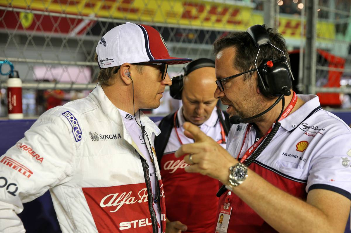 Kimi Raikkonen (FIN) Alfa Romeo Racing on the grid.