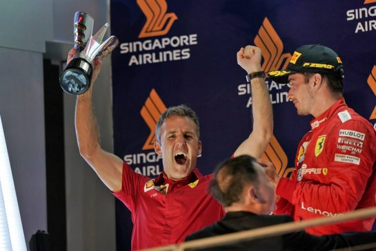 Inaki Rueda (ESP) Ferrari Race Strategist celebrates on the podium with second placed Charles Leclerc (MON) Ferrari. 22.09.2019. Formula 1 World Championship, Rd 15, Singapore Grand Prix, Marina Bay Street Circuit, Singapore, Race Day.  - www.xpbimages.com, EMail: requests@xpbimages.com - copy of publication required for printed pictures. Every used picture is fee-liable. © Copyright: Dungan / XPB Images