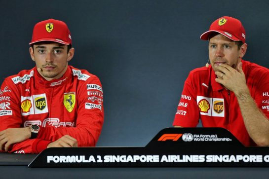 (L to R): Charles Leclerc (MON) Ferrari and Sebastian Vettel (GER) Ferrari in the post race FIA Press Conference. 22.09.2019. Formula 1 World Championship, Rd 15, Singapore Grand Prix, Marina Bay Street Circuit, Singapore, Race Day. - www.xpbimages.com, EMail: requests@xpbimages.com - copy of publication required for printed pictures. Every used picture is fee-liable. © Copyright: Moy / XPB Images