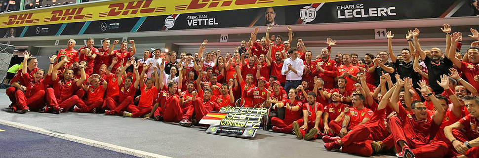 Race winner Sebastian Vettel (GER) Ferrari and second placed Charles Leclerc (MON) Ferrari celebrate with the team.