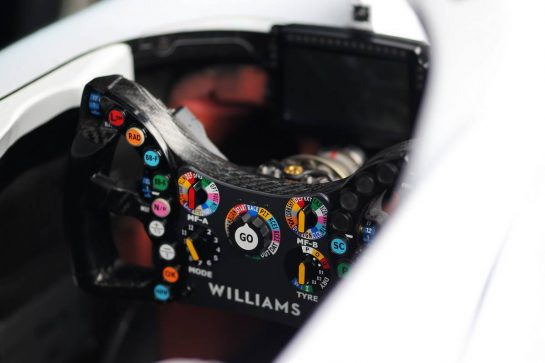 Williams Racing FW42 steering wheel. 26.09.2019. Formula 1 World Championship, Rd 16, Russian Grand Prix, Sochi Autodrom, Sochi, Russia, Preparation Day.  - www.xpbimages.com, EMail: requests@xpbimages.com - copy of publication required for printed pictures. Every used picture is fee-liable. © Copyright: Filipe / XPB Images