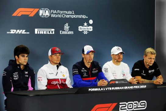 The FIA Press Conference (L to R): Lance Stroll (CDN) Racing Point F1 Team; Kimi Raikkonen (FIN) Alfa Romeo Racing; Daniil Kvyat (RUS) Scuderia Toro Rosso; Valtteri Bottas (FIN) Mercedes AMG F1; Kevin Magnussen (DEN) Haas F1 Team. 26.09.2019. Formula 1 World Championship, Rd 16, Russian Grand Prix, Sochi Autodrom, Sochi, Russia, Preparation Day.  - www.xpbimages.com, EMail: requests@xpbimages.com - copy of publication required for printed pictures. Every used picture is fee-liable. © Copyright: Filipe / XPB Images