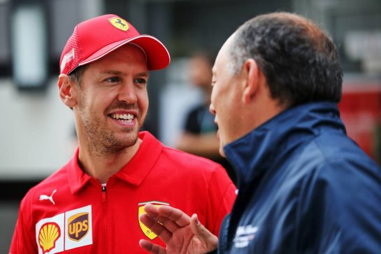 (L to R): Sebastian Vettel (GER) Ferrari with Frederic Vasseur (FRA) Alfa Romeo Racing Team Principal. 26.09.2019. Formula 1 World Championship, Rd 16, Russian Grand Prix, Sochi Autodrom, Sochi, Russia, Preparation Day. - www.xpbimages.com, EMail: requests@xpbimages.com - copy of publication required for printed pictures. Every used picture is fee-liable. © Copyright: Batchelor / XPB Images