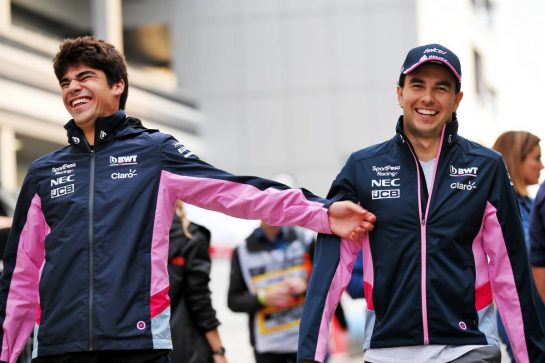 (L to R): Lance Stroll (CDN) Racing Point F1 Team with team mate Sergio Perez (MEX) Racing Point F1 Team. 26.09.2019. Formula 1 World Championship, Rd 16, Russian Grand Prix, Sochi Autodrom, Sochi, Russia, Preparation Day. - www.xpbimages.com, EMail: requests@xpbimages.com - copy of publication required for printed pictures. Every used picture is fee-liable. © Copyright: Batchelor / XPB Images