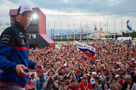 Daniil Kvyat (RUS) Scuderia Toro Rosso on the Fanzone stage. 26.09.2019. Formula 1 World Championship, Rd 16, Russian Grand Prix, Sochi Autodrom, Sochi, Russia, Preparation Day.  - www.xpbimages.com, EMail: requests@xpbimages.com - copy of publication required for printed pictures. Every used picture is fee-liable. © Copyright: Bearne / XPB Images