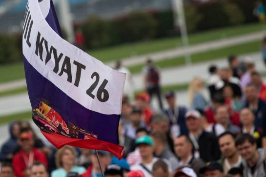 Daniil Kvyat (RUS) Scuderia Toro Rosso fans and flag. 26.09.2019. Formula 1 World Championship, Rd 16, Russian Grand Prix, Sochi Autodrom, Sochi, Russia, Preparation Day.  - www.xpbimages.com, EMail: requests@xpbimages.com - copy of publication required for printed pictures. Every used picture is fee-liable. © Copyright: Bearne / XPB Images