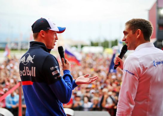 (L to R): Daniil Kvyat (RUS) Scuderia Toro Rosso with Vitaly Petrov (RUS) on the Fanzone stage. 26.09.2019. Formula 1 World Championship, Rd 16, Russian Grand Prix, Sochi Autodrom, Sochi, Russia, Preparation Day.  - www.xpbimages.com, EMail: requests@xpbimages.com - copy of publication required for printed pictures. Every used picture is fee-liable. © Copyright: Filipe / XPB Images