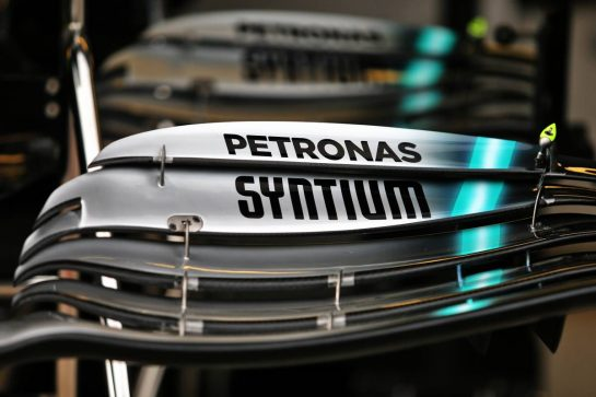 Mercedes AMG F1 W10 front wing detail. 26.09.2019. Formula 1 World Championship, Rd 16, Russian Grand Prix, Sochi Autodrom, Sochi, Russia, Preparation Day. - www.xpbimages.com, EMail: requests@xpbimages.com - copy of publication required for printed pictures. Every used picture is fee-liable. © Copyright: Moy / XPB Images