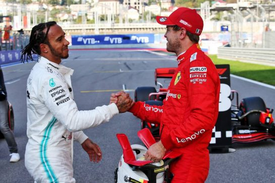 (L to R): Lewis Hamilton (GBR) Mercedes AMG F1 with Sebastian Vettel (GER) Ferrari in qualifying parc ferme. 28.09.2019. Formula 1 World Championship, Rd 16, Russian Grand Prix, Sochi Autodrom, Sochi, Russia, Qualifying Day. - www.xpbimages.com, EMail: requests@xpbimages.com - copy of publication required for printed pictures. Every used picture is fee-liable. © Copyright: Batchelor / XPB Images