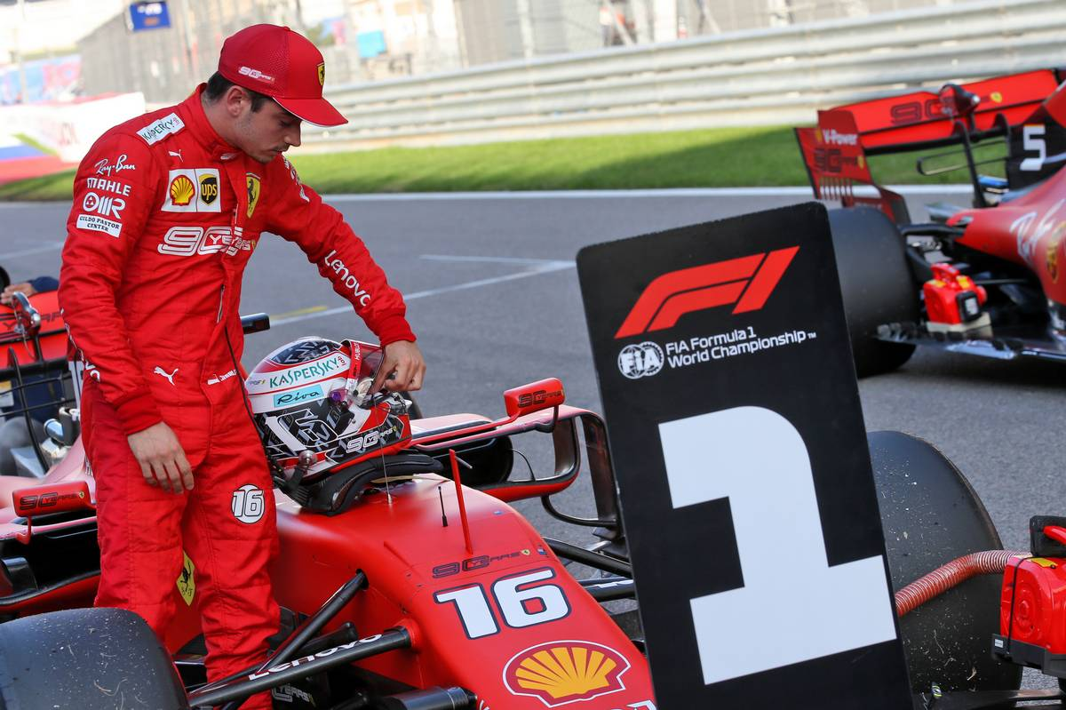 Charles Leclerc (MON) Ferrari SF90 in qualifying parc ferme.