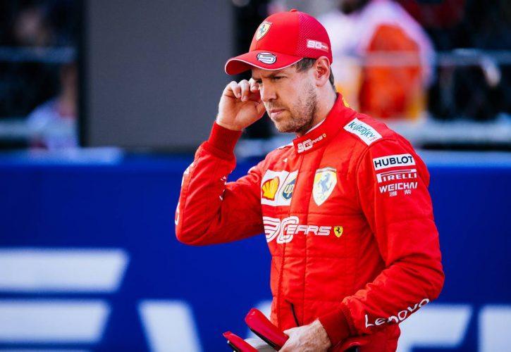 Sebastian Vettel (GER) Ferrari in qualifying parc ferme.