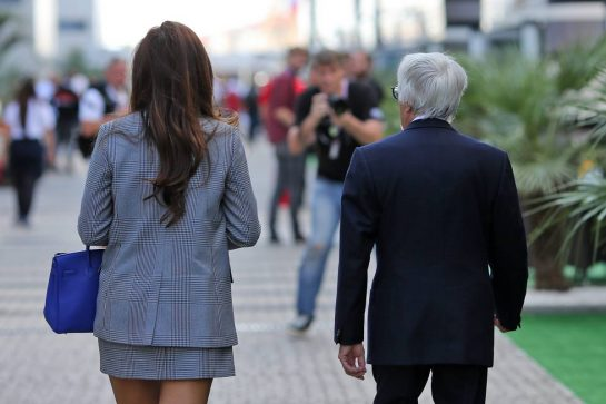 Bernie Ecclestone (GBR) with his wife Fabiana Flosi (BRA). 29.09.2019. Formula 1 World Championship, Rd 16, Russian Grand Prix, Sochi Autodrom, Sochi, Russia, Race Day. - www.xpbimages.com, EMail: requests@xpbimages.com - copy of publication required for printed pictures. Every used picture is fee-liable. © Copyright: Filipe / XPB Images