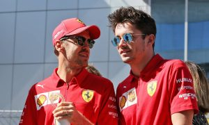 Sebastian Vettel (GER) Ferrari with Charles Leclerc (MON) Ferrari on the drivers parade.