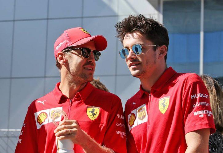 Sebastian Vettel (GER) Ferrari with Charles Leclerc (MON) Ferrari on the drivers parade.