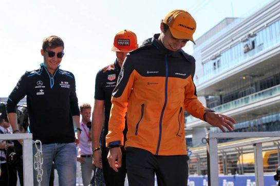Lando Norris (GBR) McLaren on the drivers parade. 29.09.2019. Formula 1 World Championship, Rd 16, Russian Grand Prix, Sochi Autodrom, Sochi, Russia, Race Day. - www.xpbimages.com, EMail: requests@xpbimages.com - copy of publication required for printed pictures. Every used picture is fee-liable. © Copyright: Batchelor / XPB Images