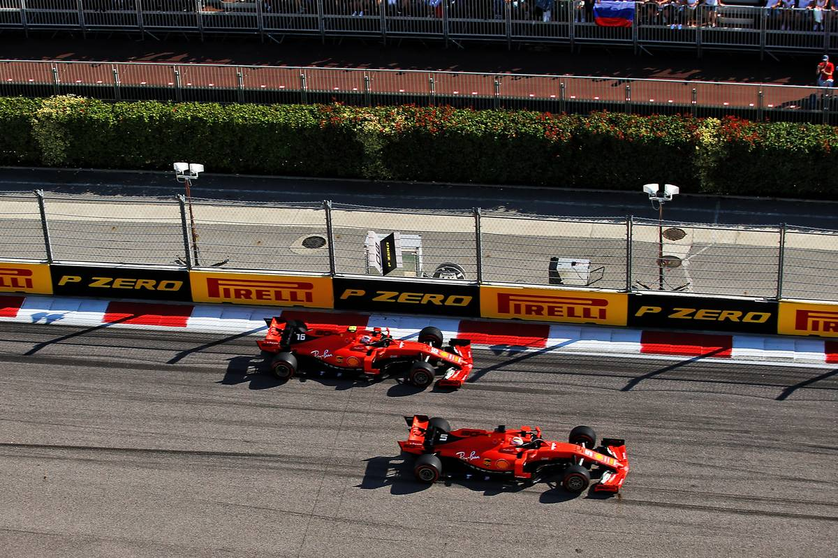 Sebastian Vettel (GER) Ferrari SF90 leads team mate Charles Leclerc (MON) Ferrari SF90 at the start of the race