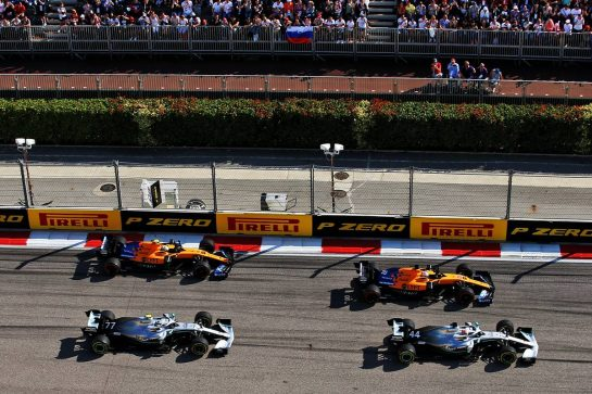 Lewis Hamilton (GBR) Mercedes AMG F1 W10; Carlos Sainz Jr (ESP) McLaren MCL34; Valtteri Bottas (FIN) Mercedes AMG F1 W10 and Lando Norris (GBR) McLaren MCL34 at the start of the race. 29.09.2019. Formula 1 World Championship, Rd 16, Russian Grand Prix, Sochi Autodrom, Sochi, Russia, Race Day. - www.xpbimages.com, EMail: requests@xpbimages.com - copy of publication required for printed pictures. Every used picture is fee-liable. © Copyright: Filipe / XPB Images