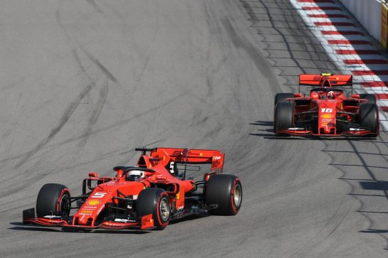 Sebastian Vettel (GER) Ferrari SF90 leads Charles Leclerc (MON) Ferrari SF90. 29.09.2019. Formula 1 World Championship, Rd 16, Russian Grand Prix, Sochi Autodrom, Sochi, Russia, Race Day. - www.xpbimages.com, EMail: requests@xpbimages.com - copy of publication required for printed pictures. Every used picture is fee-liable. © Copyright: Charniaux / XPB Images