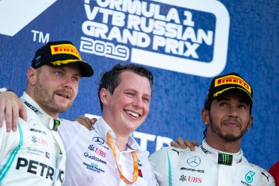 The podium (L to R): second placed Valtteri Bottas (FIN) Mercedes AMG F1 with race winner Lewis Hamilton (GBR) Mercedes AMG F1. 29.09.2019. Formula 1 World Championship, Rd 16, Russian Grand Prix, Sochi Autodrom, Sochi, Russia, Race Day. - www.xpbimages.com, EMail: requests@xpbimages.com - copy of publication required for printed pictures. Every used picture is fee-liable. © Copyright: Bearne / XPB Images