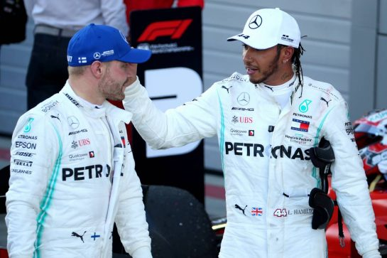 Valtteri Bottas (FIN) Mercedes AMG F1 W10 and Lewis Hamilton (GBR) Mercedes AMG F1 W10. 29.09.2019. Formula 1 World Championship, Rd 16, Russian Grand Prix, Sochi Autodrom, Sochi, Russia, Race Day. - www.xpbimages.com, EMail: requests@xpbimages.com - copy of publication required for printed pictures. Every used picture is fee-liable. © Copyright: Batchelor / XPB Images