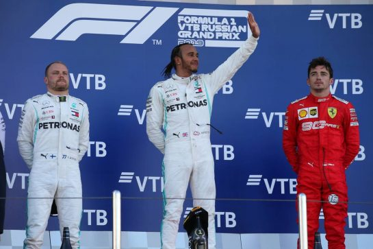 1st place Lewis Hamilton (GBR) Mercedes AMG F1 W10, 2nd Valtteri Bottas (FIN) Mercedes AMG F1 W10 and 3rd place Charles Leclerc (MON) Ferrari SF90. 29.09.2019. Formula 1 World Championship, Rd 16, Russian Grand Prix, Sochi Autodrom, Sochi, Russia, Race Day. - www.xpbimages.com, EMail: requests@xpbimages.com - copy of publication required for printed pictures. Every used picture is fee-liable. © Copyright: Batchelor / XPB Images