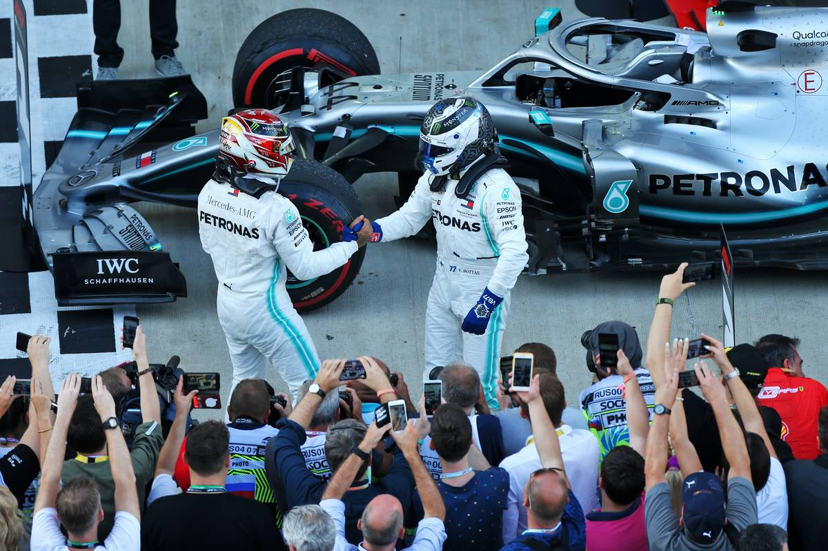 Race winner Lewis Hamilton (GBR) Mercedes AMG F1 W10 celebrates in parc ferme with second placed team mate Valtteri Bottas (FIN) Mercedes AMG F1.