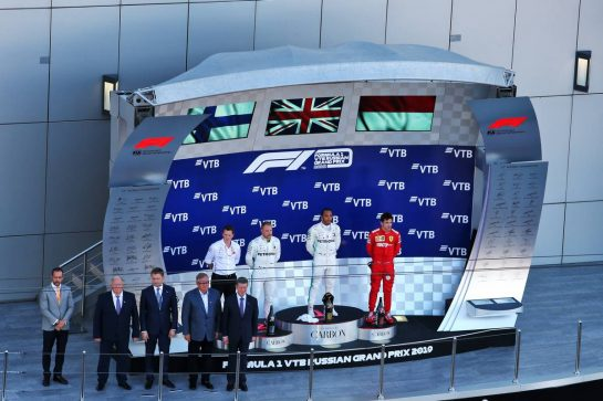 The podium (L to R): Valtteri Bottas (FIN) Mercedes AMG F1, second; Lewis Hamilton (GBR) Mercedes AMG F1, race winner; Charles Leclerc (MON) Ferrari, third. 29.09.2019. Formula 1 World Championship, Rd 16, Russian Grand Prix, Sochi Autodrom, Sochi, Russia, Race Day. - www.xpbimages.com, EMail: requests@xpbimages.com - copy of publication required for printed pictures. Every used picture is fee-liable. © Copyright: Moy / XPB Images