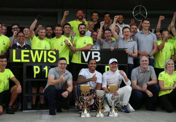 Lewis Hamilton (GBR) Mercedes AMG F1 W10 and Valtteri Bottas (FIN)