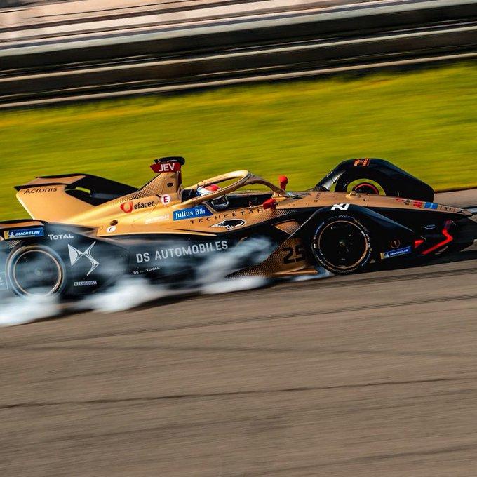 Jean-Eric Vergne locks up during Formula E pre-season testing.